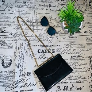 Handbags - Vintage 1950s Black Envelope clutch purse